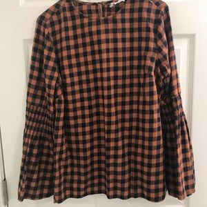bell sleeve flannel top